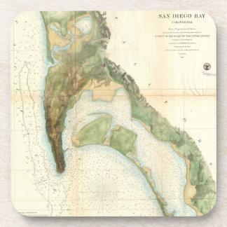 Carte vintage de la baie de San Diego (1857) Sous-bock