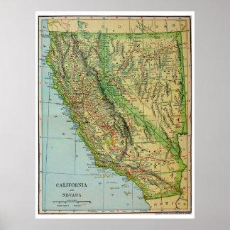 Carte vintage de la Californie et du Nevada (1905) Posters