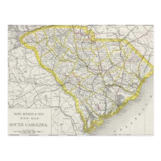 Carte vintage de la Caroline du Sud (1889) Cartes Postales