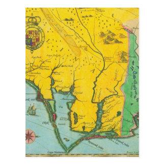 Carte vintage de la côte de la Caroline Cartes Postales