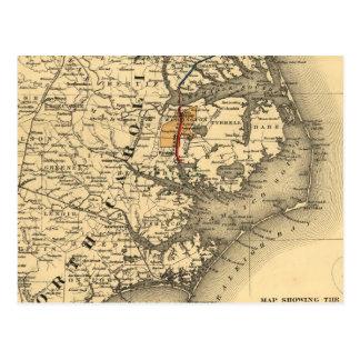 Carte vintage de la côte de la Caroline du Nord Cartes Postales