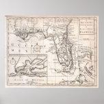 Carte vintage de la Floride (1763) Posters
