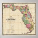 Carte vintage de la Floride (1870) Affiche
