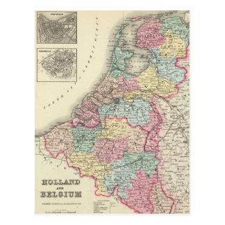 Carte vintage de la Hollande et de la Belgique