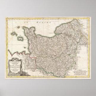 Carte vintage de la Normandie (1771) Posters