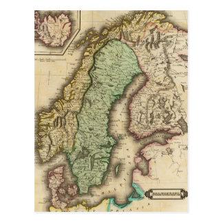 Carte vintage de la Norvège et de la Suède (1831)