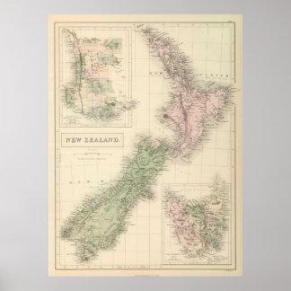 Carte vintage de la Nouvelle Zélande (1854) Posters