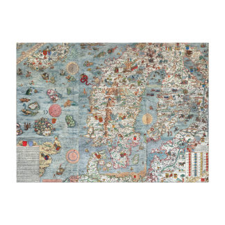Carte vintage de la Scandinavie de marina de Carta Toiles
