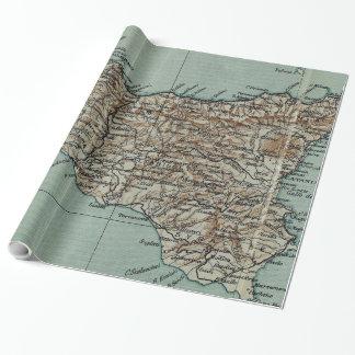 Carte vintage de la Sicile Italie (1911) Papiers Cadeaux