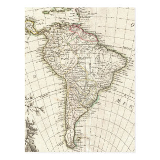 Carte vintage de l'Amérique du Sud (1762) Cartes Postales