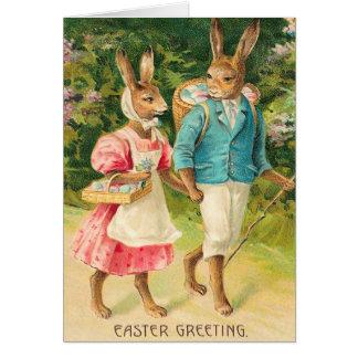 Carte vintage de lapin de Pâques
