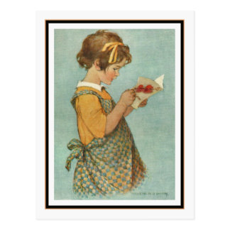 Carte vintage de lecture de fille par Jessie