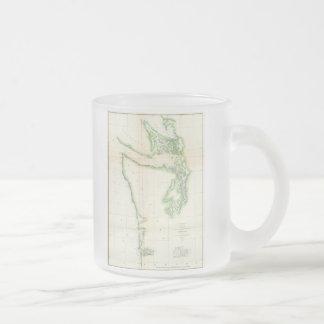 Carte vintage de l'état de Washington Côtier Mug En Verre Givré