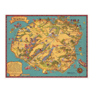 Carte vintage de l'île de Kauai