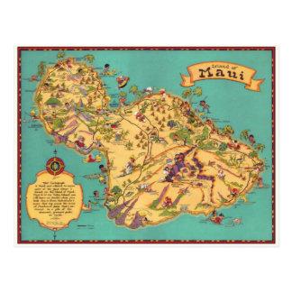Carte vintage de l'île de Maui