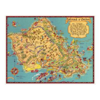 Carte vintage de l'île d'Oahu