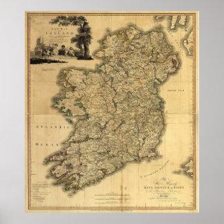 Carte vintage de l'Irlande (1797) Posters