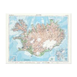 Carte vintage de l'Islande Toiles