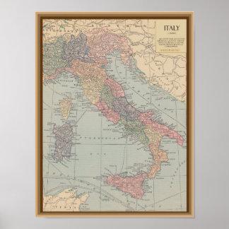 Carte vintage de l'Italie Posters