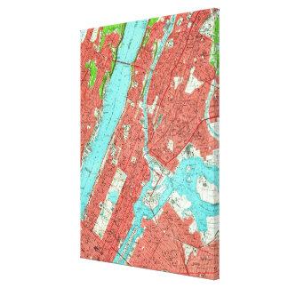 Carte vintage de Manhattan de la ville haute et de Toile