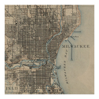 Carte vintage de Milwaukee le Wisconsin (1899) Poster