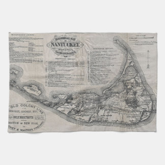 Carte vintage de Nantucket Linge De Cuisine