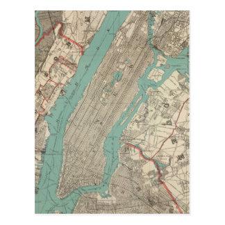 Carte vintage de New York City (1890) Carte Postale