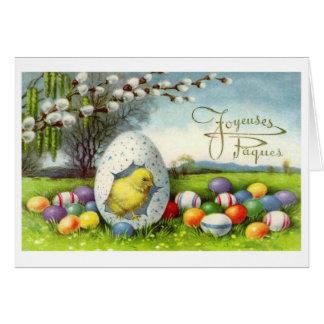 Carte vintage de Pâques Joyeuses Pâques de