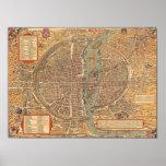 Carte vintage de Paris (1575) Poster
