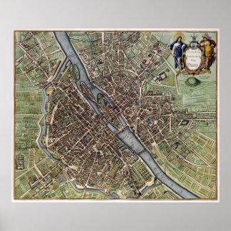 Carte vintage de Paris (1657) Posters