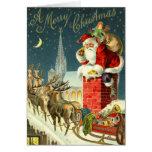 Carte vintage de Père Noël de Noël