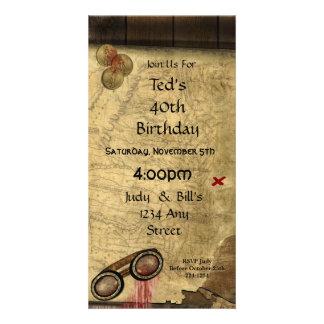 Carte vintage de pirate, pièces d'or et regard vin cartes de vœux avec photo
