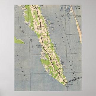 Carte vintage de point la Caroline du Nord (1940) Posters