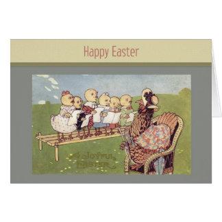 Carte vintage de poussins de bébé de Pâques