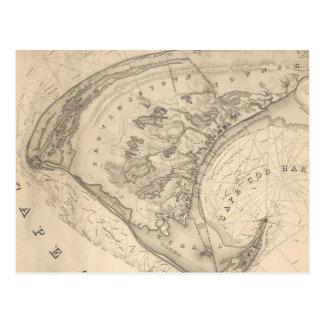 Carte vintage de Provincetown (1836) Carte Postale