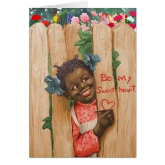 Carte vintage de Saint-Valentin d'Afro-américain