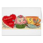 Carte vintage de Saint-Valentin de petit gâteau et