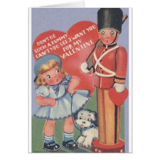 Carte vintage de Saint-Valentin de soldat de jouet