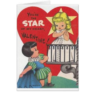 Carte vintage de Saint-Valentin de théâtre