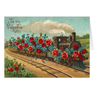 Carte vintage de Saint-Valentin de train d'amour