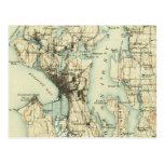 Carte vintage de Seattle Carte Postale
