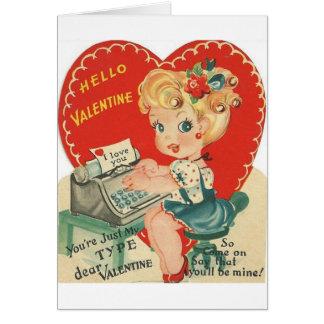 Carte vintage de secrétaire Saint-Valentin de