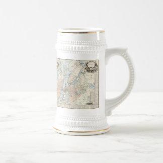 Carte vintage de Stockholm (1733) Chope À Bière