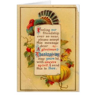 Carte vintage de thanksgiving avec la carte de