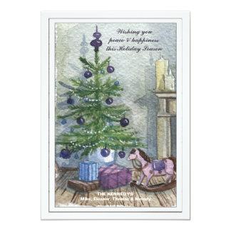 Carte vintage de vacances d'arbre de Noël Carton D'invitation 12,7 Cm X 17,78 Cm