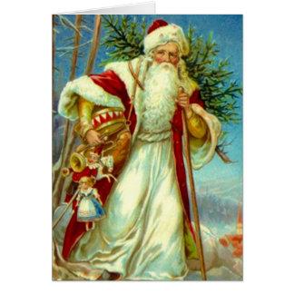 Carte vintage de vacances de Noël de Père Noël de