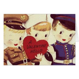 Carte vintage de Valentine de garçons de soldat