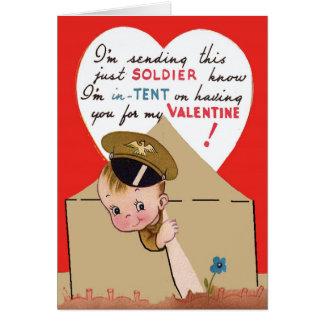 Carte vintage de Valentine de soldat de l'armée
