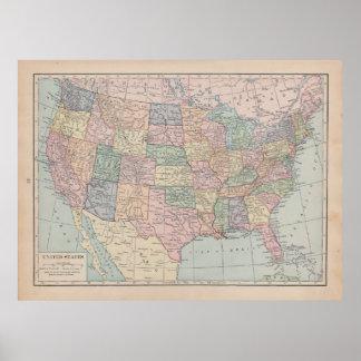 Carte vintage des Etats-Unis Posters