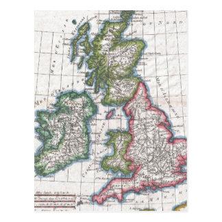 Carte vintage des îles britanniques (1780) carte postale